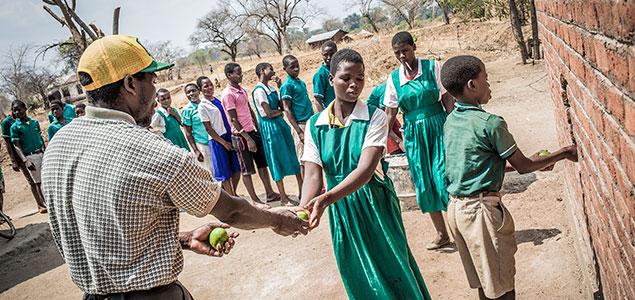 Elever på en skola i Malawi-distriktet Mangochi får skollunch varje dag genom ett projekt som drivs av We Effect, World Food Programme och Malawiska staten. Bönder i trakten får utbildning av We Effect och samtidigt betalt för att leverera grödor som blir till luncher på tio skolor i landet.