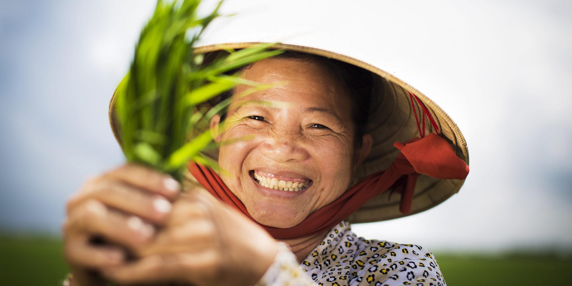 Närbild på en kvinna som leende håller upp en risplanta i händerna framför ansiktet.