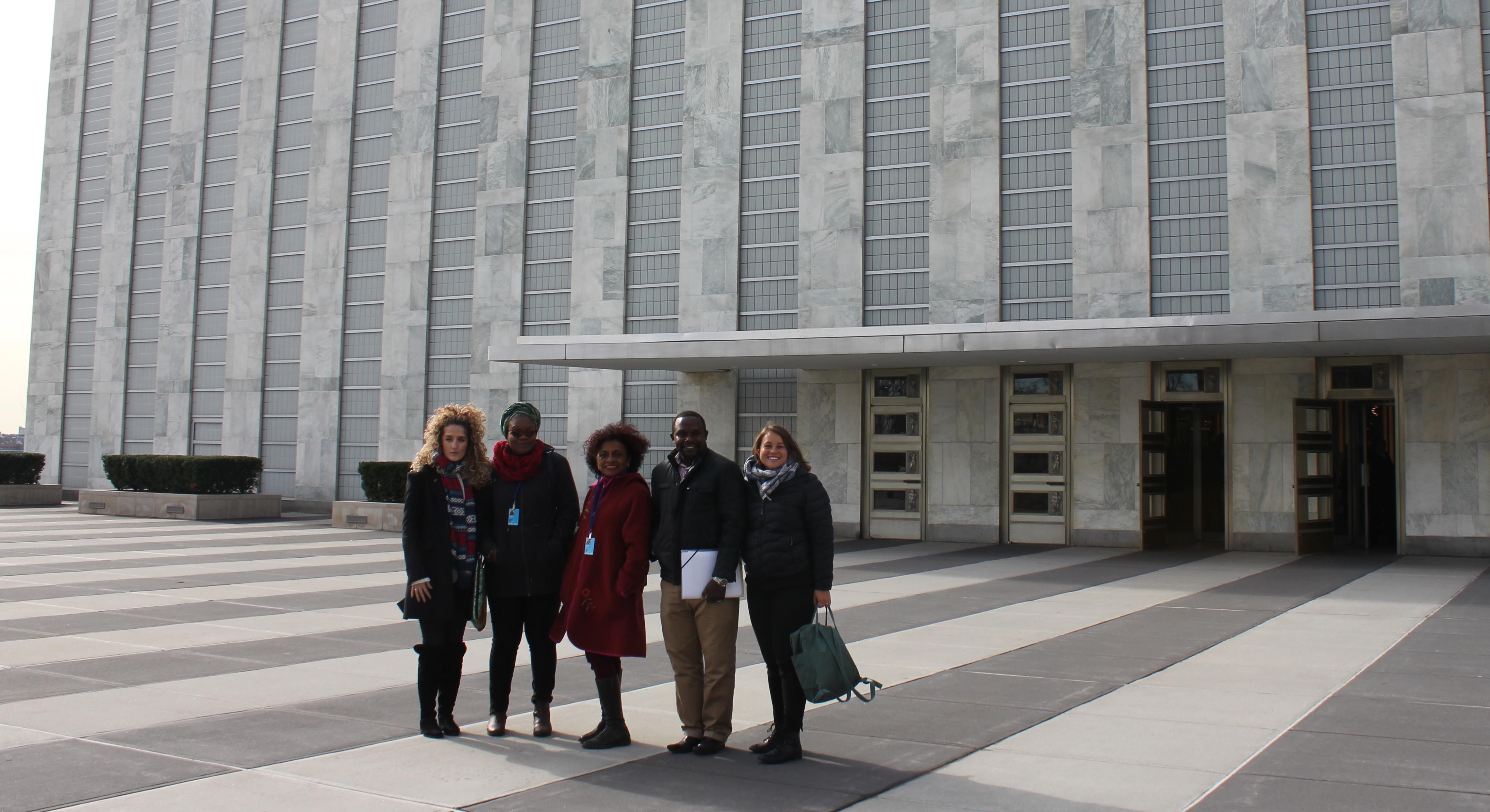 Från vänster: Lendita Ajdani, Jennipher Sakala, Maria Guerra, Jonathan Kioko, Liinu Diaz Rämö